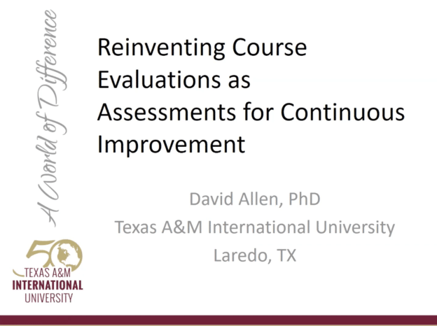 "Lightning Talk Series: ""Reinventing Course Evaluations As Assessments for Continuous Improvement"""